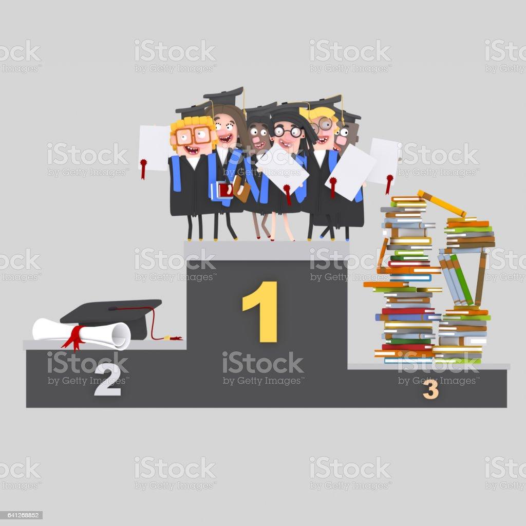 Estudiantes, libros y diploma en el podio - ilustración de arte vectorial