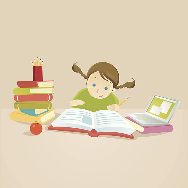 ilustrações de stock, clip art, desenhos animados e ícones de estudo cápsulas: smart filho a ler um livro - girl study home laptop front