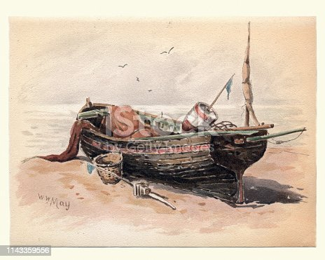 Vintage painting of a Study of a French Fishing Lugger, 19th Century, by Walter William May