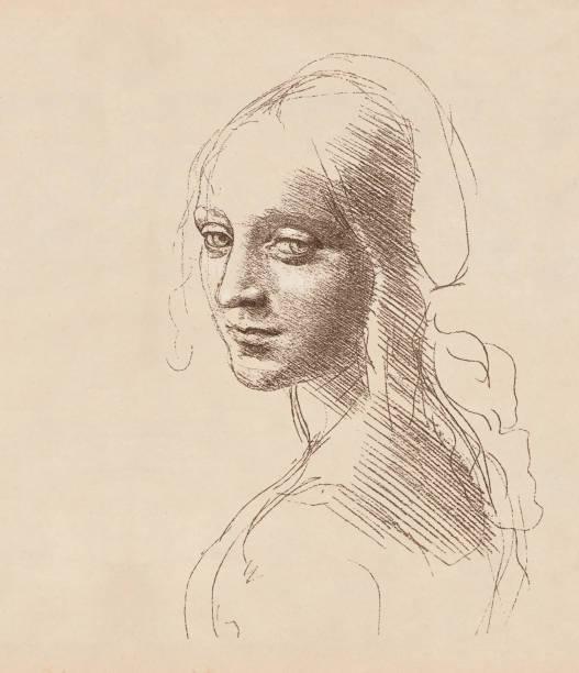 study of a girl's head by leonardo da vinci, c.1483 - renaissance style stock illustrations, clip art, cartoons, & icons