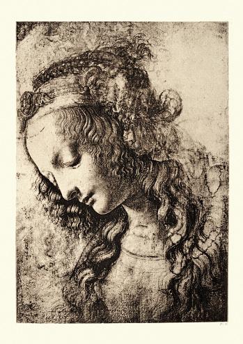 Study of Virgin Mary, Leonardo da Vinci, Renaissance art