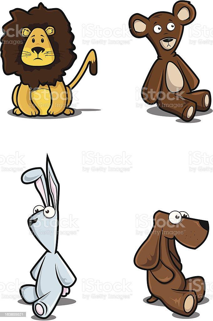 Stuffed animals vector art illustration