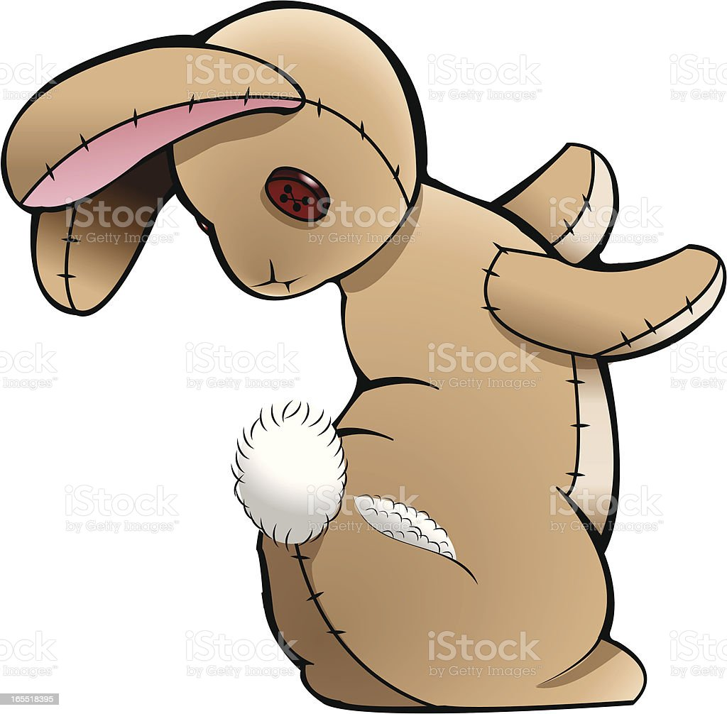 Stuffed Bunny with a Torn Tush vector art illustration