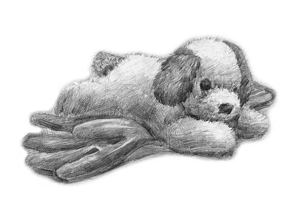 stuffed puppy on rubber glove rag puppy doll (soft toy) - pencil drawing, formal glove stock illustrations