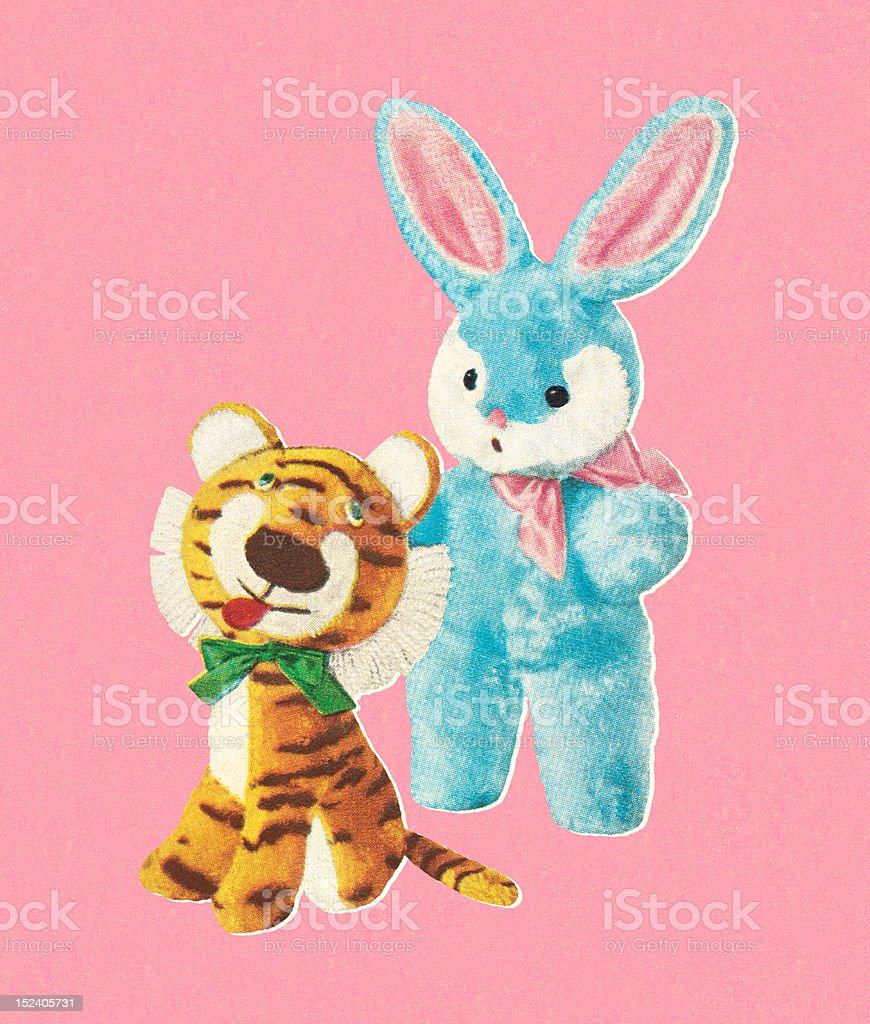 Stuffed Tiger and Bunny Toys royalty-free stock vector art