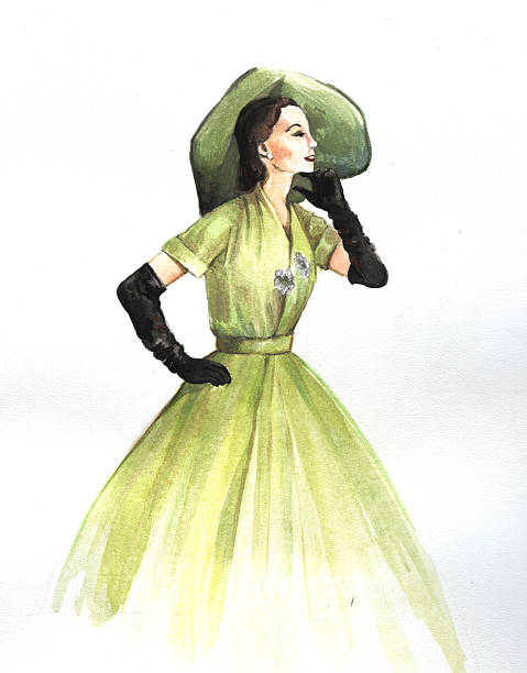 """style """"new look"""" 1950s Girl in dress style """"new look"""". The evening outfit. Watercolor drawing. caenorhabditis elegans stock illustrations"""