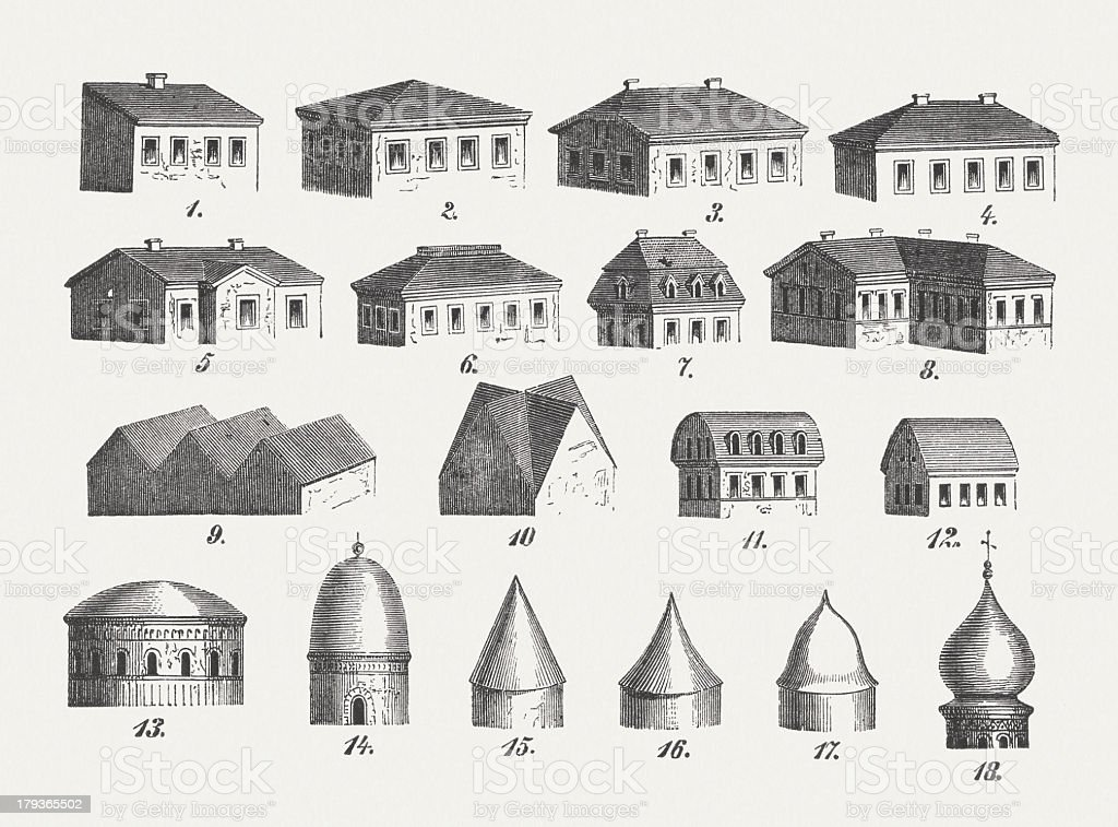 Style of roofs, wood engravings, published in 1876 royalty-free stock vector art