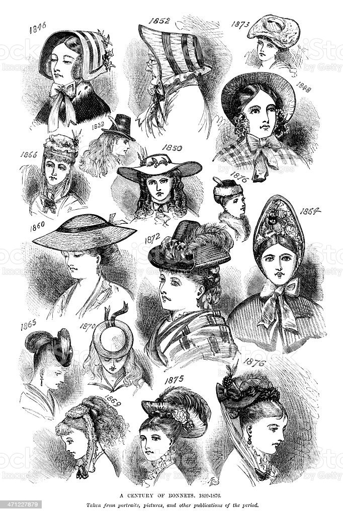 Styles of British bonnets from 1840-1876 vector art illustration