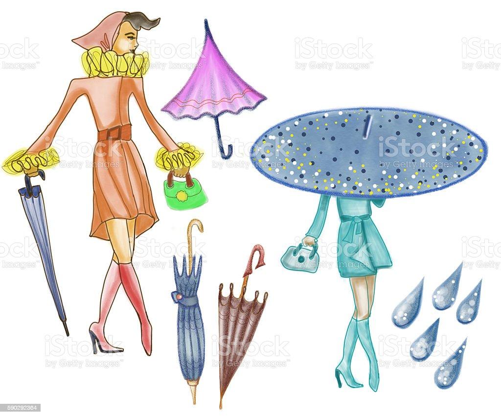 Stylish drawn ladies with colorful umbrella royaltyfri stylish drawn ladies with colorful umbrella-vektorgrafik och fler bilder på droppe