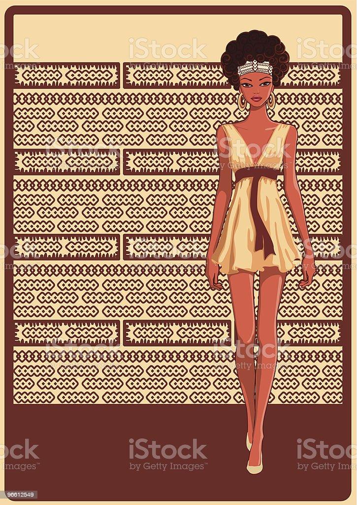Стильные девушка - Векторная графика Африканского происхождения роялти-фри