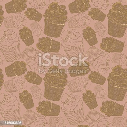 istock Stylish seamless coffee color pattern with cupcake illustrations, hatched and linea 1316993698