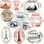 Stylized vintage travel stamps from far the exotic and far away
