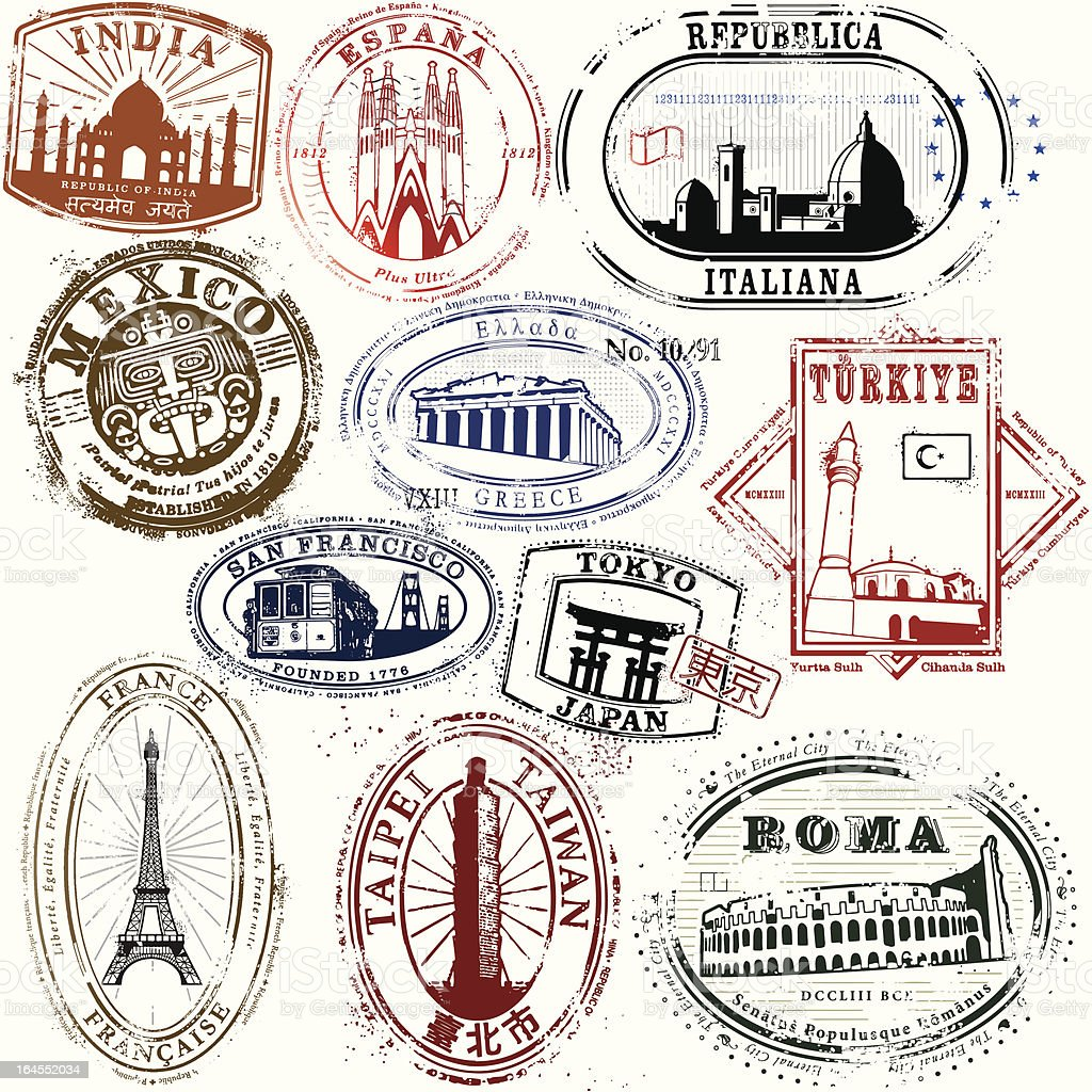 Stylish Travel Stamps from yonder vector art illustration