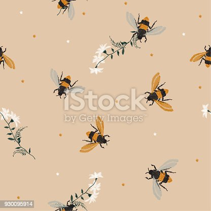 Stylish Vintage Embroidery Honey Bee And Funny Bee With Flowers