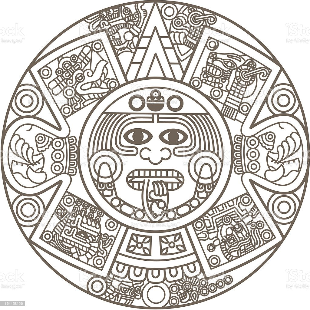 Stylized Aztec Calendar vector art illustration