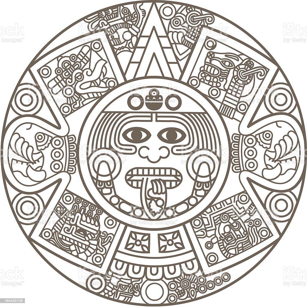 Estilizada calendário asteca - ilustração de arte em vetor