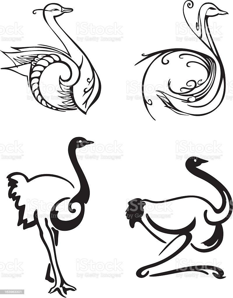 Estilizado de aves - ilustração de arte em vetor
