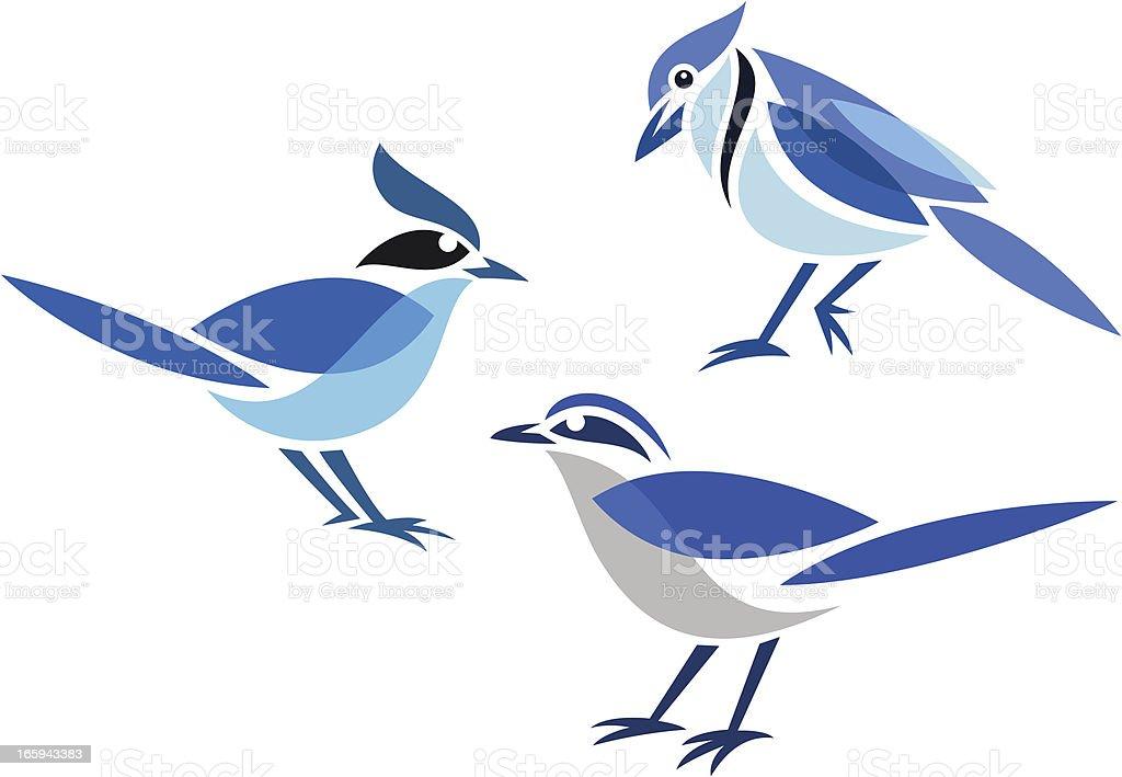 Stylized birds vector art illustration