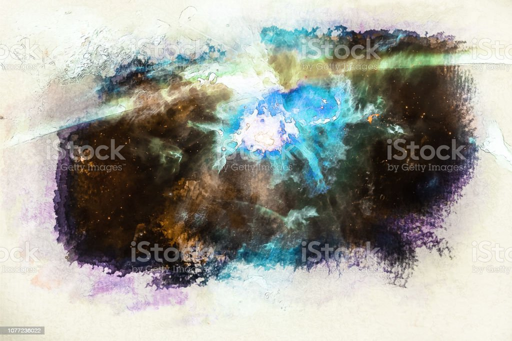 Stylized by watercolor sketch painting on a textured paper of space...