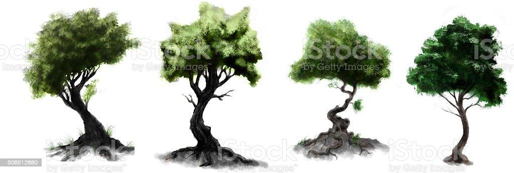 Stilizzato Verde Foresta Scuro Foglie Di Alberi Disegni Immagini