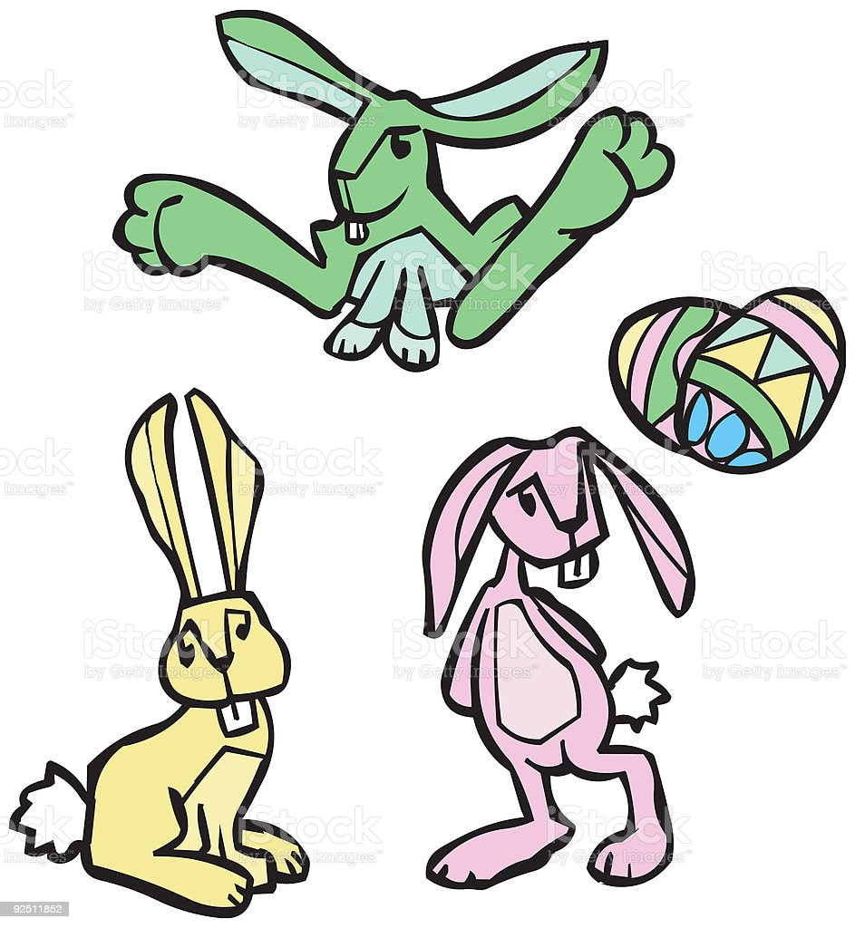 Stylized Easter Bunnies vector art illustration