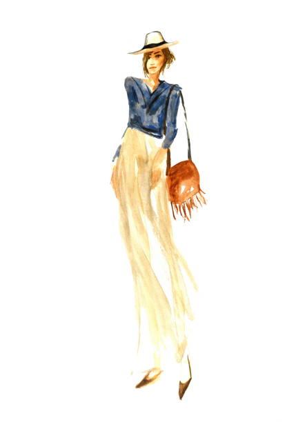 stylized fashion illustration of a spring girl in a hat - spring fashion stock illustrations, clip art, cartoons, & icons
