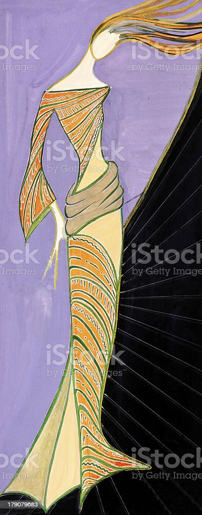stylized female party dresses royalty-free stock vector art