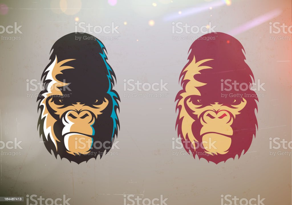 Stylisé Gorille visage de Sourire narquois - Illustration vectorielle