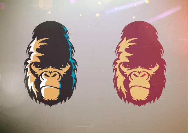 stilisierte gorilla feixen gesicht - gorilla stock-grafiken, -clipart, -cartoons und -symbole