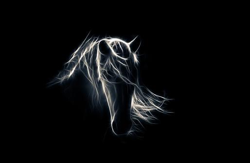 stylized horse illustration on black background