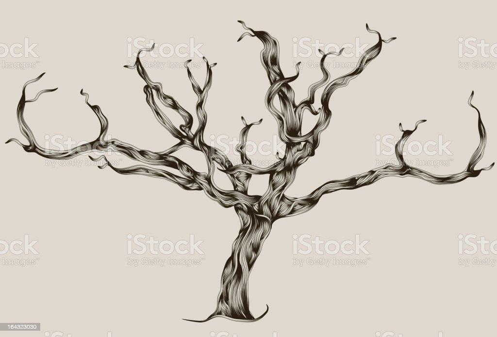 Stilisierte illustrierte hand drawn abgestorbener Baum – Vektorgrafik