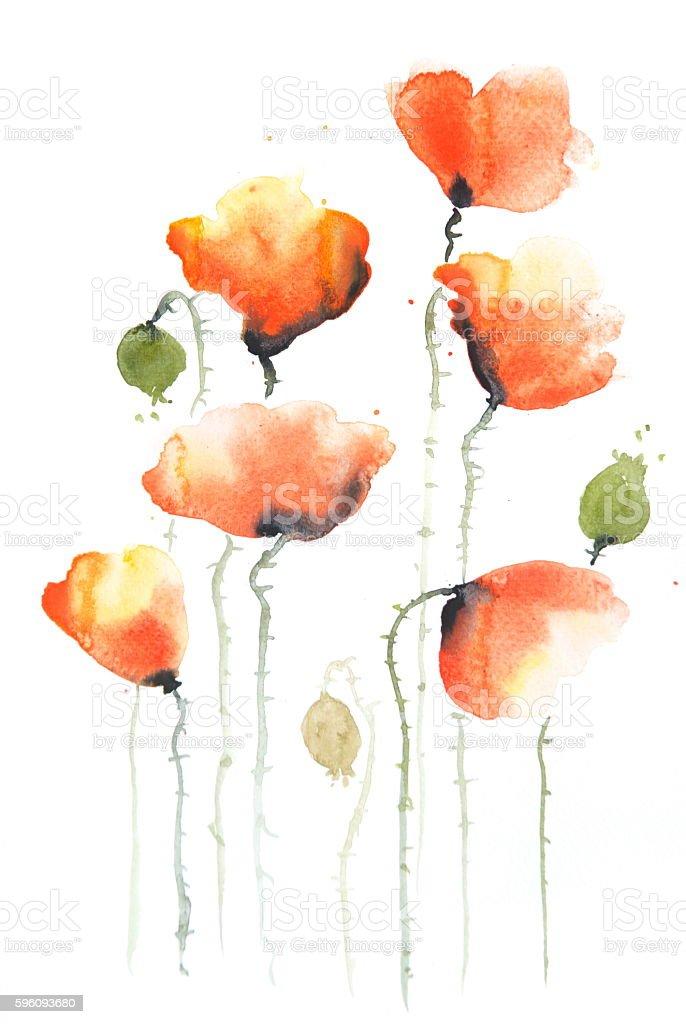 Stylized poppies on white Lizenzfreies stylized poppies on white stock vektor art und mehr bilder von abstrakt