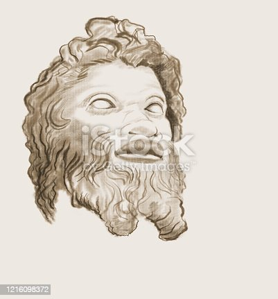 Stylized sketch of a male head with a thick beard and mustache on a sepia background