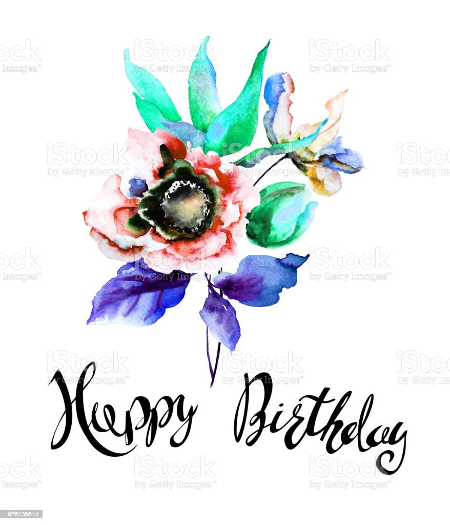 Stylized Spring Flowers With Title Happy Birthday Stock Vector Art