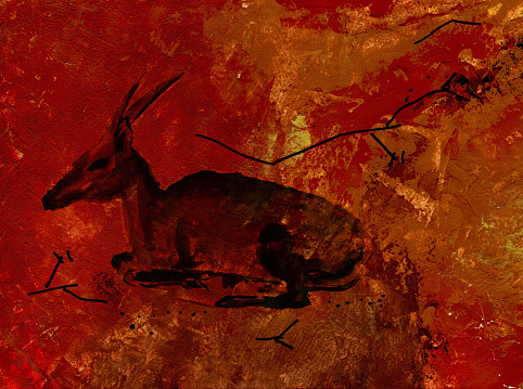 Stylized wall stucco with animal lies fallow deer picture.