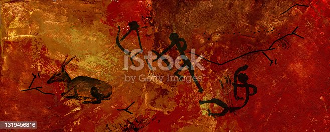 istock Stylized wall stucco with animals. Primitive people hunt fallow deer. 1319456816