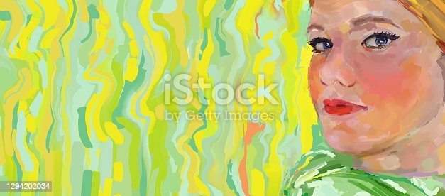 istock Stylized woman portrait close up 1294202034