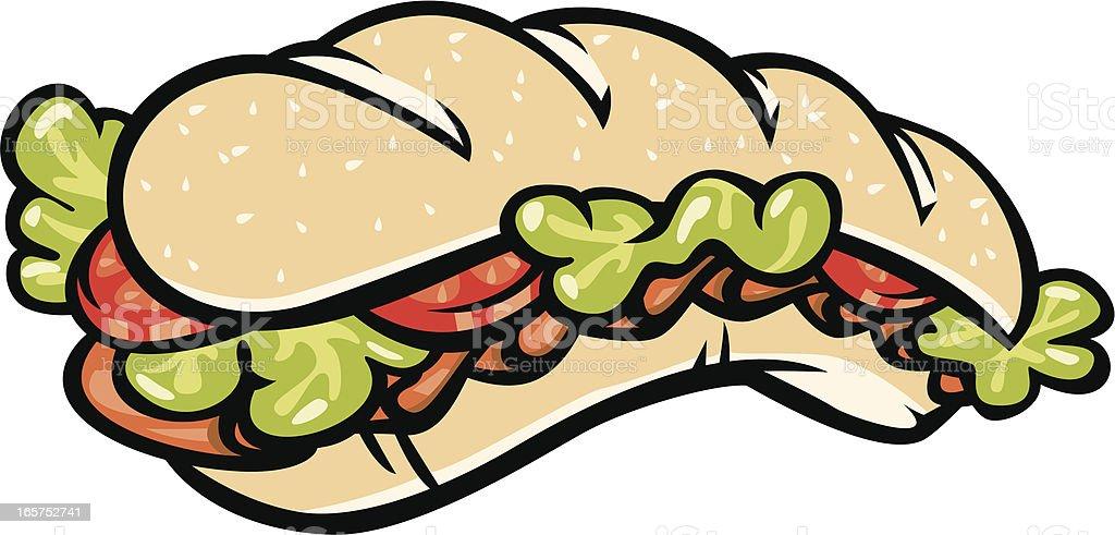 sub sandwich vector art illustration