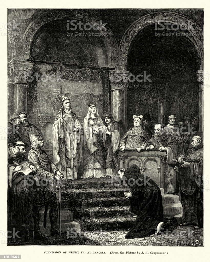 Submission of Henry IV Holy Roman Emperor at Canossa vector art illustration