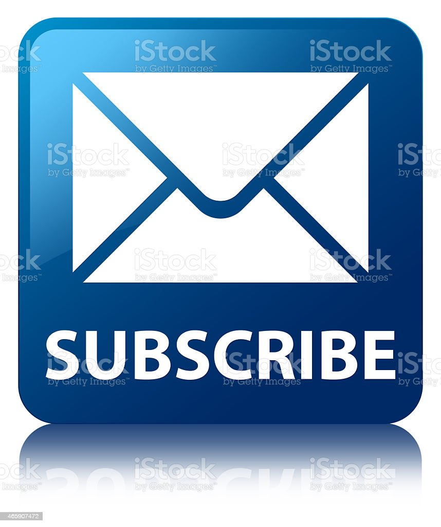 Subscribe (email icon) blue square button vector art illustration