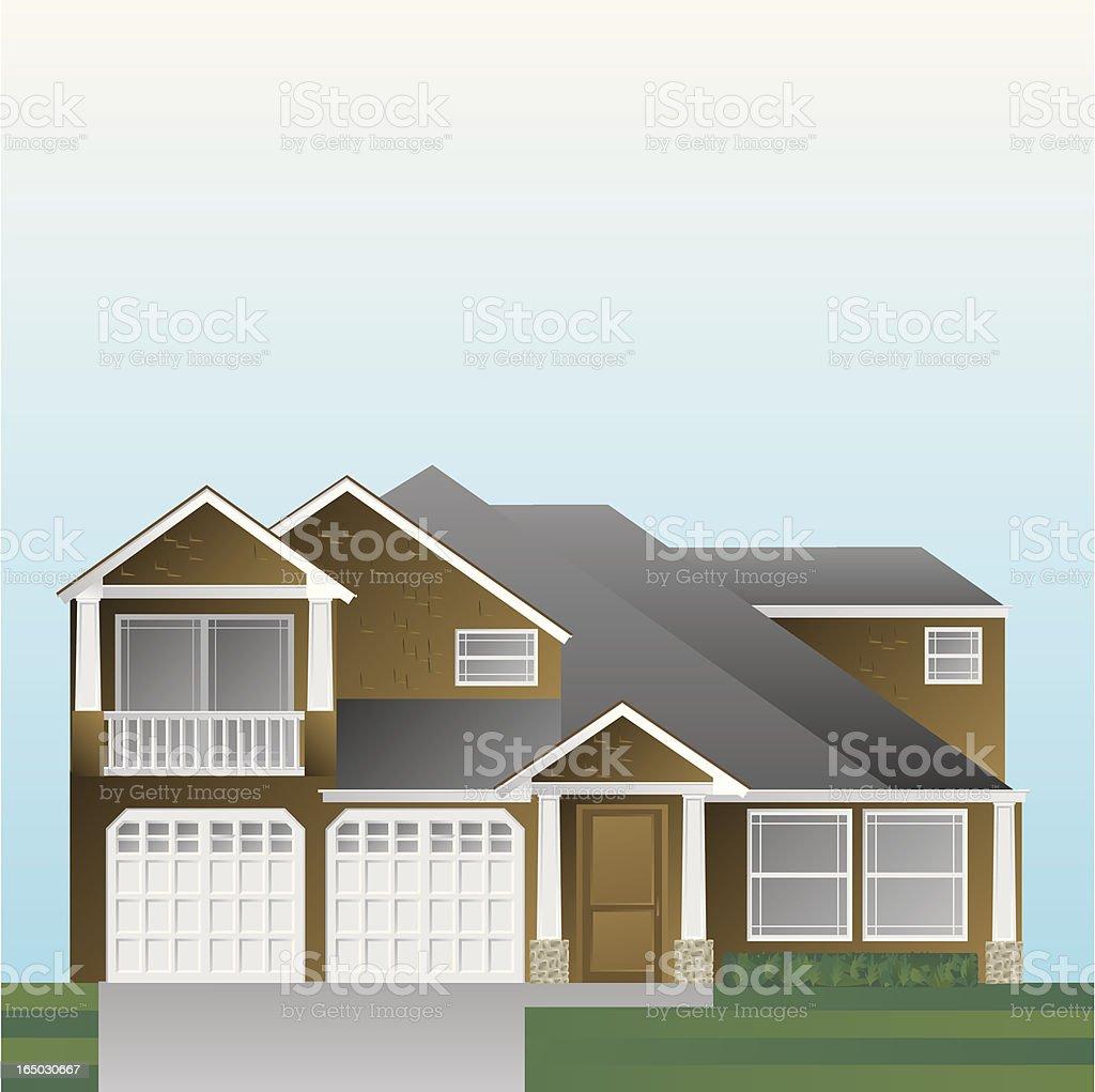 Suburban home vector art illustration