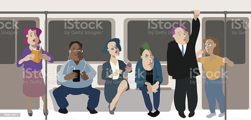 subway riders vector art illustration
