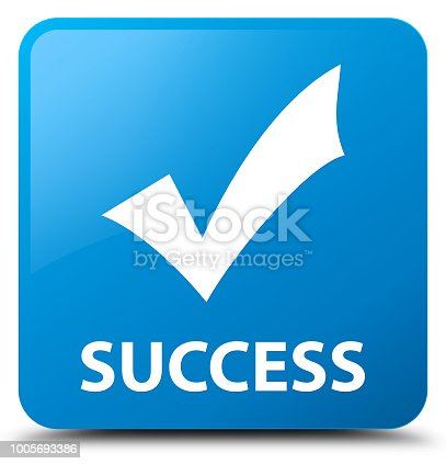 Success (validate icon) isolated on cyan blue square button abstract illustration