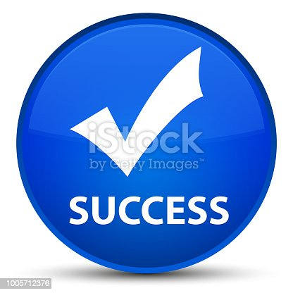 Success (validate icon) isolated on special blue round button abstract illustration
