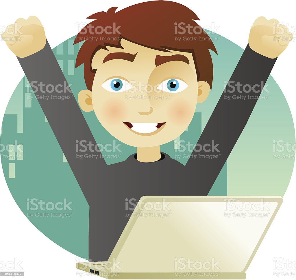 Successful business man with a laptop royalty-free stock vector art