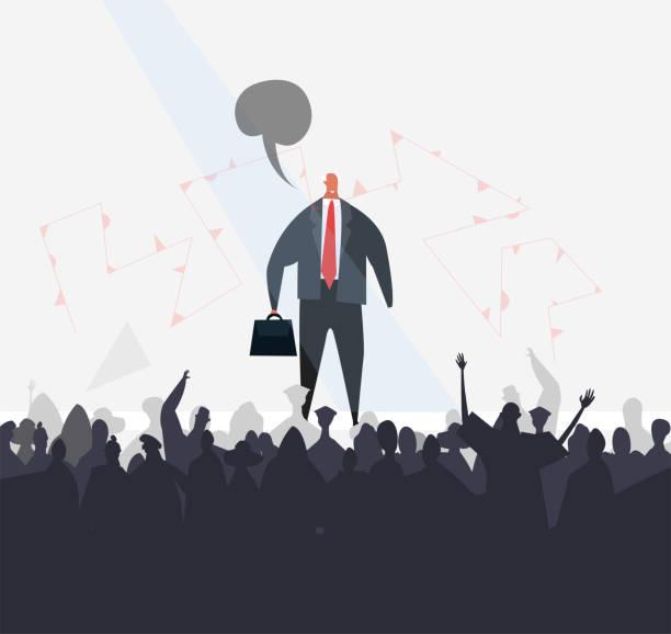 stockillustraties, clipart, cartoons en iconen met succesvolle zakenman talking infant van het publiek, concept illustratie. - dubbelopname businessman