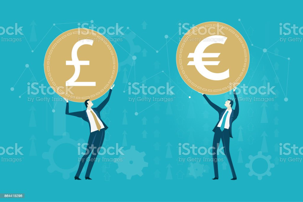 Successful Businessmen Holding Up The Currency Symbols Pound Euro