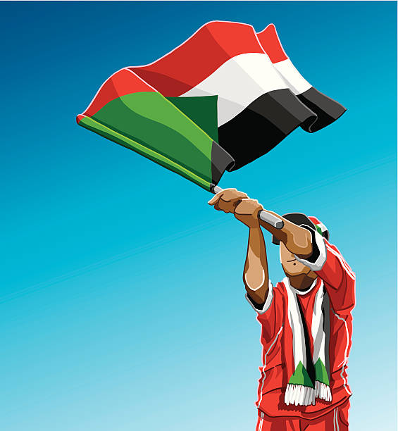 """Sudan Waving Flag Soccer Fan """"Vector Illustration of a Sudanese soccer fan. The background is on a separate layer, so you can use the illustration on your own background. The colors in the .eps and .ai-files are ready for print (CMYK). Included files: EPS (v8), AI (CS2) and Hi-Res JPG."""" soccer stock illustrations"""