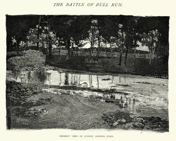 Sudley Springs Ford, at the Battle of Bull Run vector art illustration
