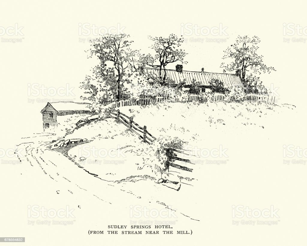 Sudley Springs Hotel, at the Battle of Bull Run vector art illustration